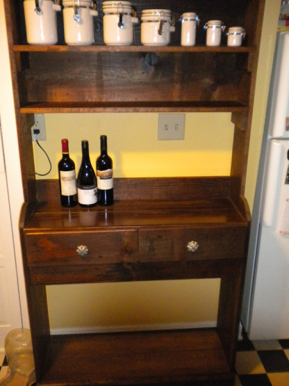 Handyman custom hutch from repurposed material